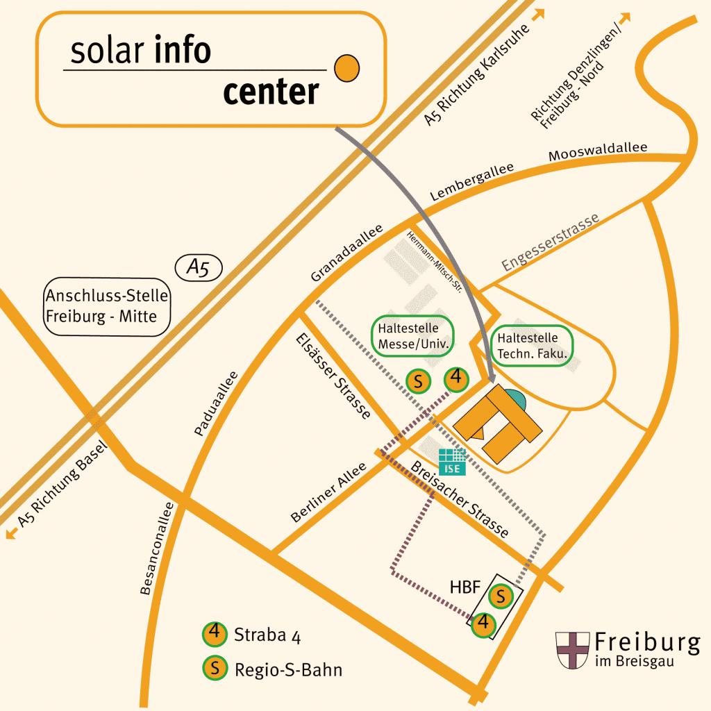 Eine Straßenkarte für die Anfahrt zum Solar Info Center